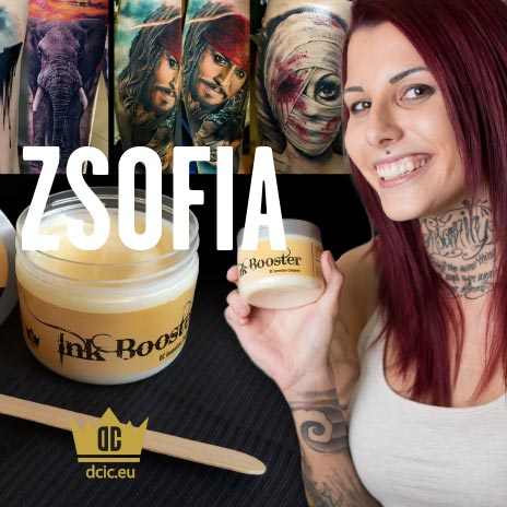 Zsofia recommends the high quality tattoo care Ink Booster and Ink Protector of the DC Invention Company.