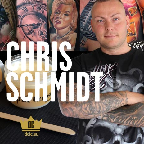 Chris Schmidt recommends the high quality tattoo care Ink Booster and Ink Protector of the DC Invention Company.