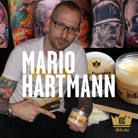 Mario Hartmann recommends the high quality tattoo care Ink Booster and Ink Protector of the DC Invention Company.