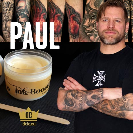 Paul recommends the high quality tattoo care Ink Booster and Ink Protector of the DC Invention Company.