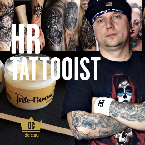 HR Tattooist recommends the high quality tattoo care Ink Booster and Ink Protector of the DC Invention Company.