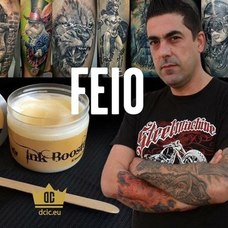 Feio recommends the high quality tattoo care Ink Booster and Ink Protector of the DC Invention Company.